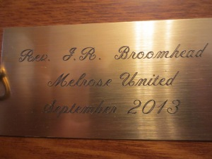 Engraving on Back:  Rev. J.R. Broomhead  Melrose United September 2013